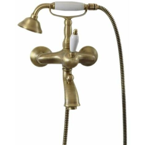 Mezclador de baño externo en color bronce antiguo con juego de ducha Gattoni Orta 2710/27VB.OLD | Bronce