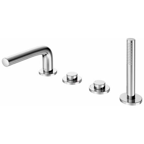 Mezclador de baño Keuco Edition 400 51130, 4 agujeros, montaje en el borde de la bañera, cromado, 180mm - 51530010100