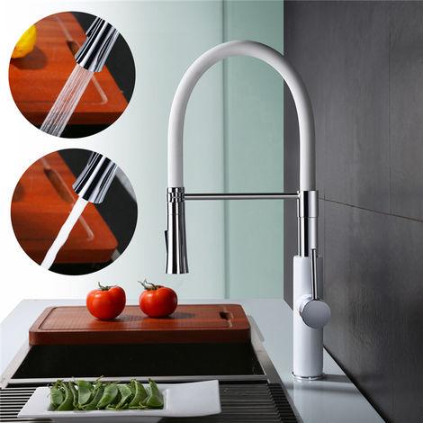 Mezclador de cocina con grifo monomando de ducha blanca para fregadero con caudal variable Manguera de silicona con rotación de 360° HOMELODY