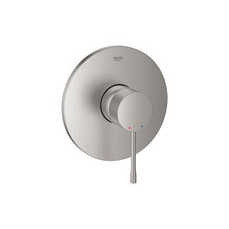 Mezclador de ducha Grohe Essence con una mano, rosetón redondo, color: súper acero - 24057DC1