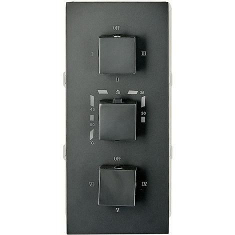 Mezclador de ducha mural para empotrar UP11-02 con inversor de 6 vías - negro