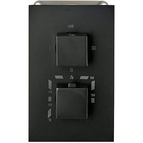 Mezclador de ducha mural para empotrar UP12-02 con inversor de 3 salidas - negro