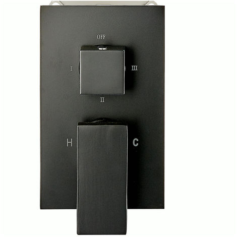 Mezclador de ducha mural para empotrar UP13-02 con inversor de 3 salidas - negro