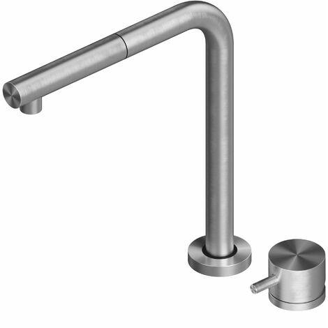 Mezclador de fregadero de cocina de acero inoxidable con caño abatible Quadrodesign 443.12AS | acero inoxidable cepillado