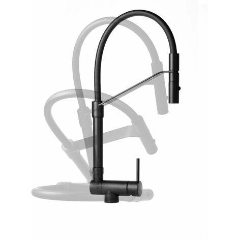 Mezclador de fregadero de cocina Underfinestra, color negro mate Gattoni Rubinetterie 6015065NO   Negro mate