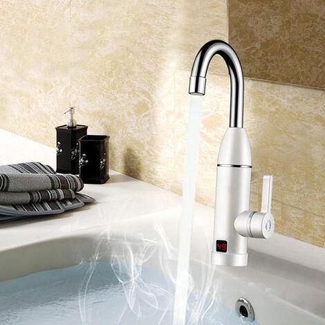 Mezclador de grifo eléctrico Grifo de cocina Pantalla digital Calentador de agua caliente instantáneo frío caliente 360 ¡ã giratorio 3000W 220V Hasaki