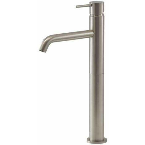 Mezclador de lavabo alto color en acero cepillado Gattoni Easy 2384/23NS   Sin Desagüe - acero inoxidable cepillado
