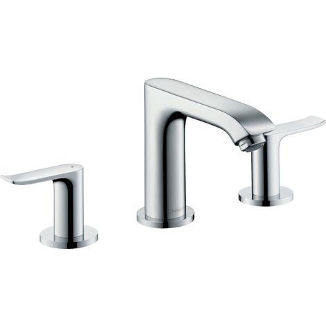 Mezclador de lavabo de 3 agujeros Hansgrohe Metris 100 con desagüe automático 31083000 - 31083000