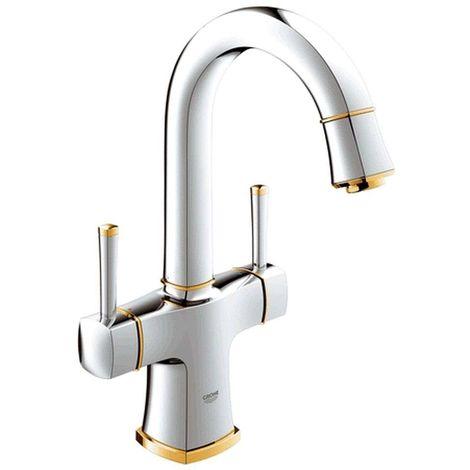 Mezclador de lavabo de dos manijas Grohe Grandera DN 15, tamaño L, caño giratorio, color: Cromo / Oro - 21107IG0