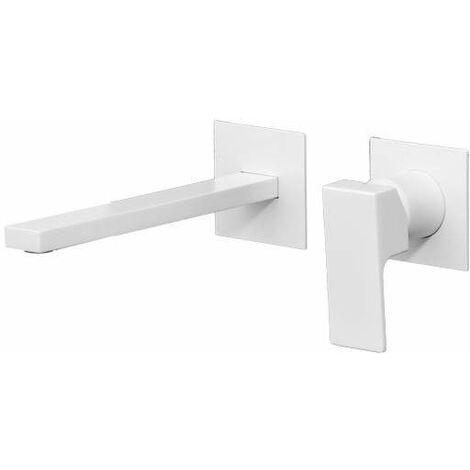 Mezclador de lavabo de pared blanco mate Gattoni Kubik 2537/25BO | Blanco mate - 200 mm