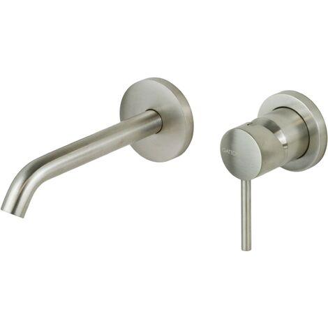 Mezclador de lavabo de pared en acero cepillado Gattoni Easy 2337/23NS | acero inoxidable cepillado