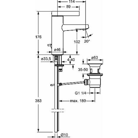 Mezclador de lavabo de un orificio Hansa Hansaloft 5754, conexión mediante tubos de cobre, cromado - 57542103