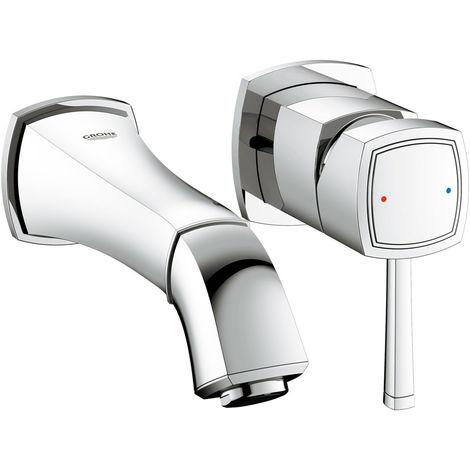 Mezclador de lavabo Grohe Grandera de 2 agujeros para montaje en pared, proyección 177mm, color: cromado - 19929000