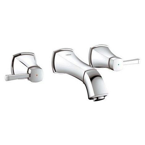 Mezclador de lavabo Grohe Grandera de 3 agujeros, DN 15, montaje en pared, proyección 234mm, color: cromado - 20415000