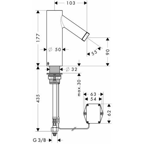 Mezclador electrónico de lavabo Hansgrohe con regulación de temperatura Funcionamiento a pilas - 10101000