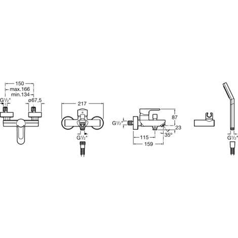 Mezclador exterior baño-ducha con inversor automático con retención ducha teléfono flexible de 170 m. y soporte articulado - Serie L20 - Roca