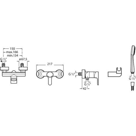 Mezclador exterior ducha con ducha teléfono flexible de 150 m. y soporte ducha articulado - Serie L20 - Roca