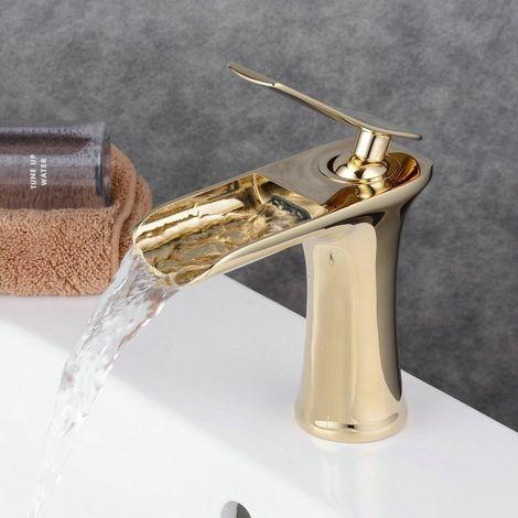 Mezclador Grifo Lavabo Baño diseño de estilo dorado