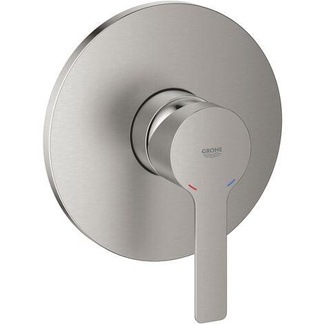 Mezclador lineal grande para ducha manual, roseta redonda, color: súper acero - 19296DC1
