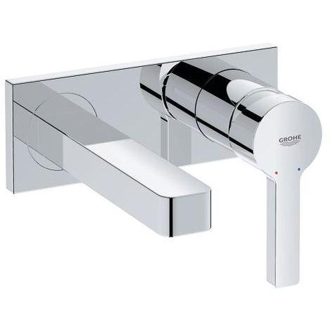 Mezclador lineal grande para lavabo de 2 orificios, de pared, proyección 153mm, color: cromado - 19409001