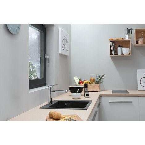 Mezclador monomando de cocina Hansgrohe Focus M42 120, montaje en la ventana delantera, 1 chorro, cromado - 71807000