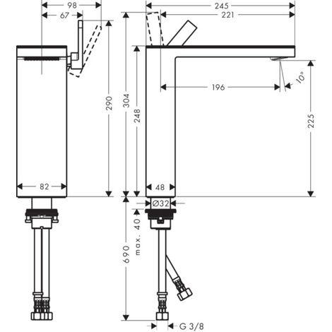 Mezclador monomando de lavabo Hansgrohe AXOR MyEdition 230 con desagüe automático de apertura fácil, color: cristal cromado / espejo - 47020000