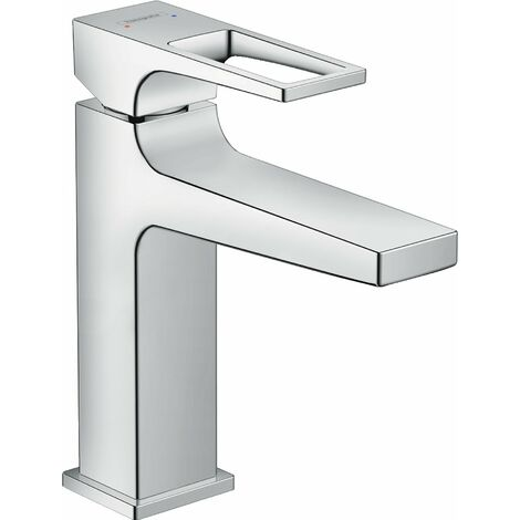 Mezclador monomando de lavabo Metropol 110 de Hansgrohe Metropol, manija de palanca, desagüe de apertura forzada, proyección de 135 mm - 74507000
