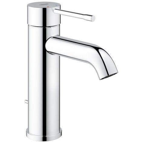 Mezclador monomando para lavabo Grohe Essence, tamaño S, montaje de un solo orificio, con válvula de desagüe, color: cromado - 23589001