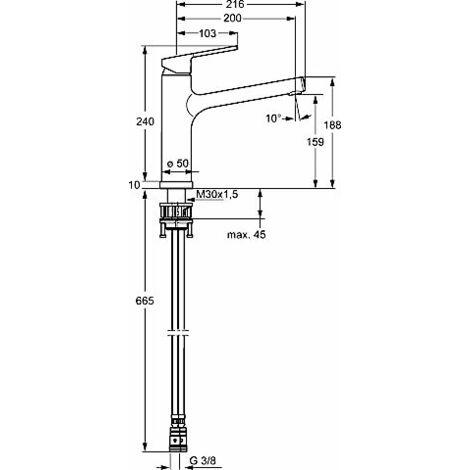 Mezclador monomando para lavabo Hansa Hansaronda Sink, 5539, con grifería abatible, cromado - 55392273