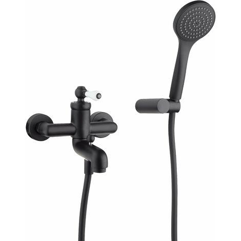 Mezclador para bañera con set de ducha Piralla Como 0TOYO003A19   Negro mate - Con set doccia