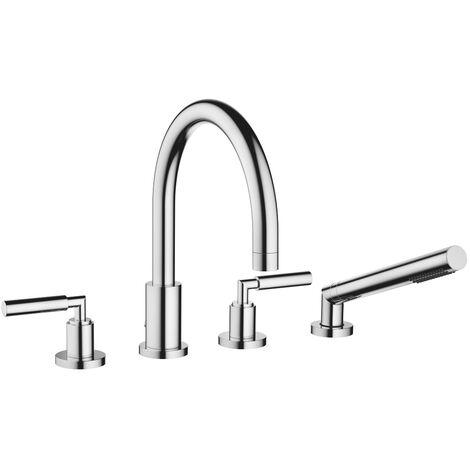 Mezclador para bañera de cuatro orificios de Dornbracht Tara para montaje en el borde de la bañera, proyección 220 mm, 27512882, color: cromado - 27512882-00