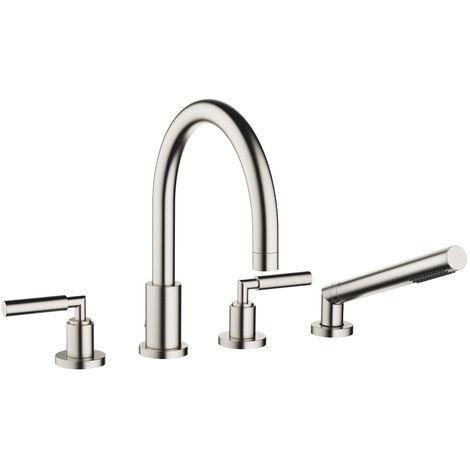 Mezclador para bañera de cuatro orificios de Dornbracht Tara para montaje en el borde de la bañera, proyección 220 mm, 27512882, color: Mate platino - 27512882-06