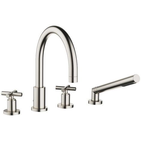 Mezclador para bañera de cuatro orificios de Dornbracht Tara para montaje en el borde de la bañera, proyección 220 mm, 27512892, color: Mate platino - 27512892-06