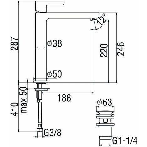 Mezclador para lavabo Nobili Lira Uno LR116128/2