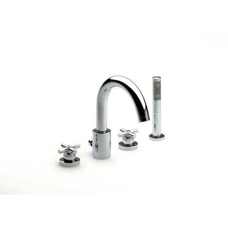 Mezclador repisa baño-ducha caño central alto inversor, ducha mano y flexible 1,75 m Loft
