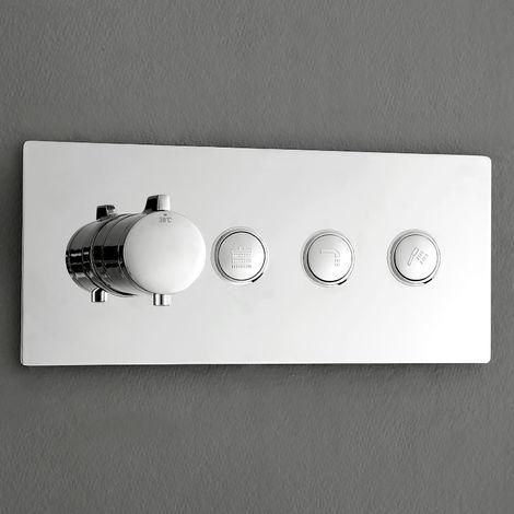 Mezclador termostático de ducha empotrado NT7177 3 salidas - con cuerpo de empotramiento