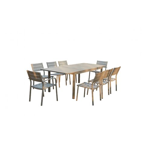 Mezzane : table de jardin extensible 8 personnes avec 2 fauteuils et ...