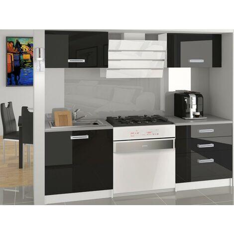 MEZZO | Cuisine Complète Modulaire + Linéaire L120 cm 4 pcs | Plan de travail INCLUS | Ensemble armoires meubles cuisine - Noir