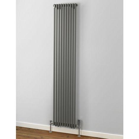 MHS Rads 2 Rails Battersea Single Panel Vertical Radiator Textured Grey