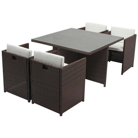 Miami 4 Marron/Blanc : salon encastrable 4 personnes en ...