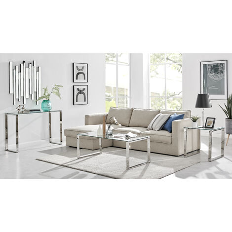 Miami Chrome Metal And Glass Console Coffee End Side Table Set