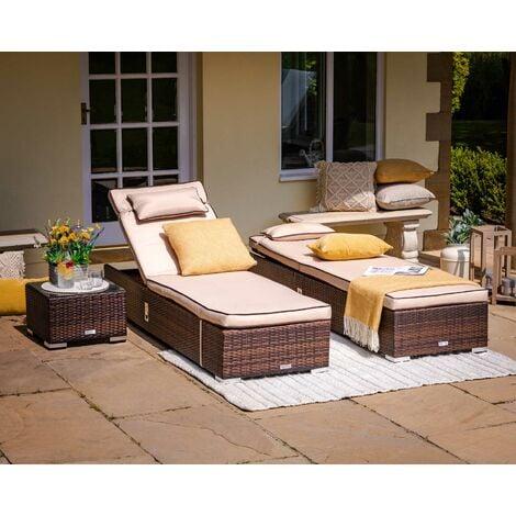 "main image of ""Miami Rattan Garden Sun Lounger Set (various colours)"""