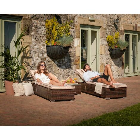 Miami Rattan Garden Sun Lounger Set (various colours)