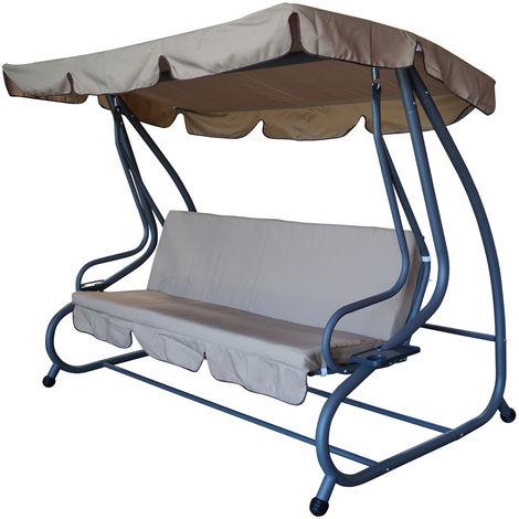 MIAMI: XXL Hollywoodschaukel 4-sitzer, Stahlgestell grau, Bezüge creme, Umklappbar als Liegebett 190x100cm + Schutzhülle aus Polyethylen