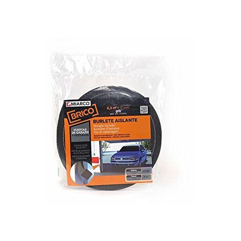 Miarco 20765 Boudin de porte en mousse pour garages et stores Gris 17 mm x 17 mm x 6,5 m