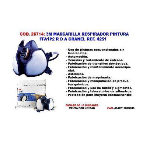 MIBRICOTIENDA 3m mascarilla respirador pintura ffa1p2 r d ref. 4251