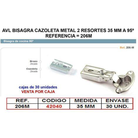 MIBRICOTIENDA avl bisagra cazoleta metal 2 resortes 35 mm a 95º 206m (caja 30 unidades)