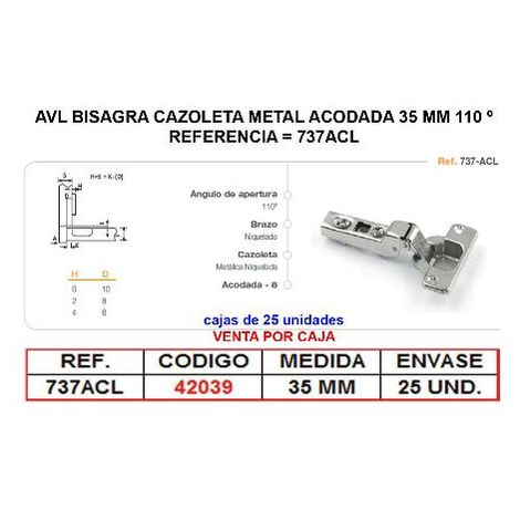 MIBRICOTIENDA avl bisagra cazoleta metal acodada 35 mm a 110 º clip on 737acl (caja 25 unidades)