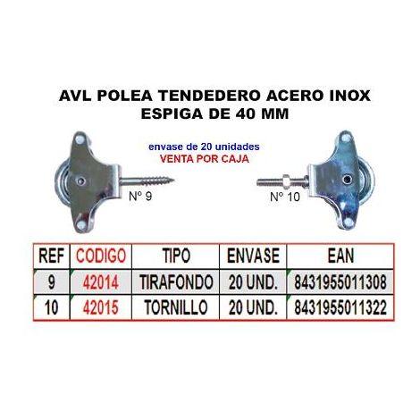 MIBRICOTIENDA avl polea tendedero 10 inox 40 mm roldana metal+tornillo (caja 20 unidades)