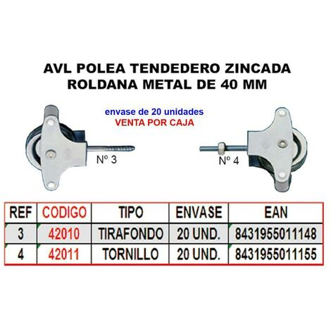 MIBRICOTIENDA avl polea tendedero 4 zincado 40 mm roldana metal+tornillo (caja 20 unidades)